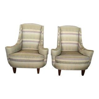 Ethan Allen Mid Century Modern Upholstered Chairs - a Pair For Sale