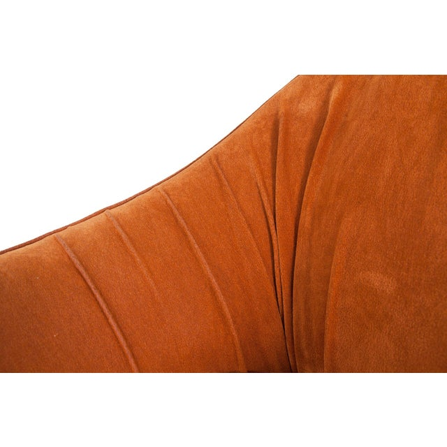 Wood Mid-Century Modern Orange Suede Italian Easy Chairs For Sale - Image 7 of 9
