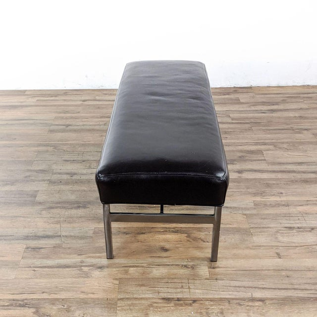 Modern Room & Board Leather and Steel Bench in Urbano Brown For Sale - Image 3 of 10