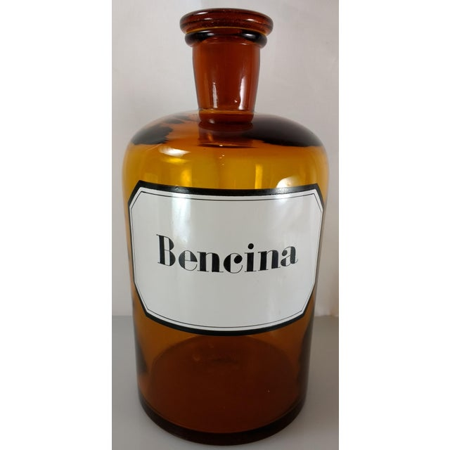 Vintage Amber Glass Bencina Apothecary Bottle - Image 4 of 10