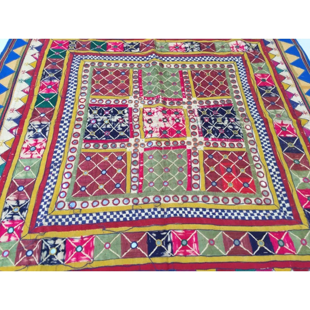 Late 19th Century Embroidered Ceremonial Chakla Cloth Textile For Sale In Los Angeles - Image 6 of 11