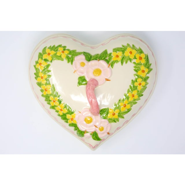 Traditional Vintage Heart Shaped Hand Painted Ceramic Tureen / Lidded Bowl For Sale - Image 3 of 13