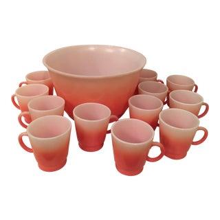 1960s Hazel Altas Flamingo Mug & Punchbowl Set of 13 For Sale