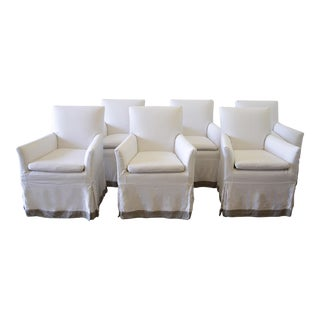 Linen Slip Covered Arm Chairs - Set of 6 For Sale