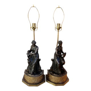 Spelter Maiden Figurative Lamps - A Pair For Sale