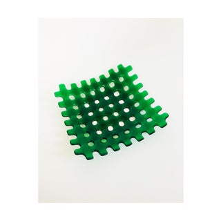 Large Vintage Gridded Green Art Glass Tray Preview