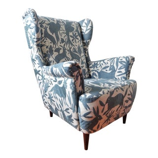 1960s Mid Century Modern Otomi Hand Embroidery Wingback Chair