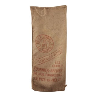Vintage French Jute Hessian Burlap Agricultural Lentil Bag W/ Red Printing For Sale