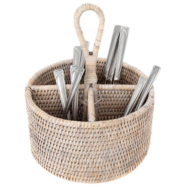 The tight weave of our rattan cutlery holder / caddy will allow you to take it anywhere and store not only your silverware...