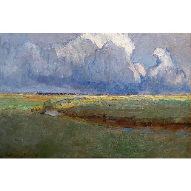 """Richard Kaiser """"River Running Through a Countryside Landscape"""" Oil Painting, 19th Century For Sale - Image 4 of 12"""