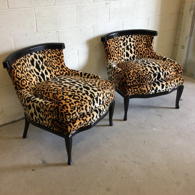 Hollywood Regency Velvet Leopard Print Slipper Chairs - a Pair For Sale - Image 3 of 11
