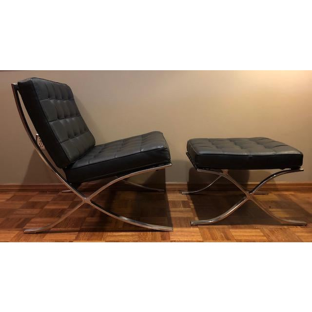 Barcelona Mies Van Der Rohe Pavilion Chair & Ottoman For Sale - Image 10 of 10