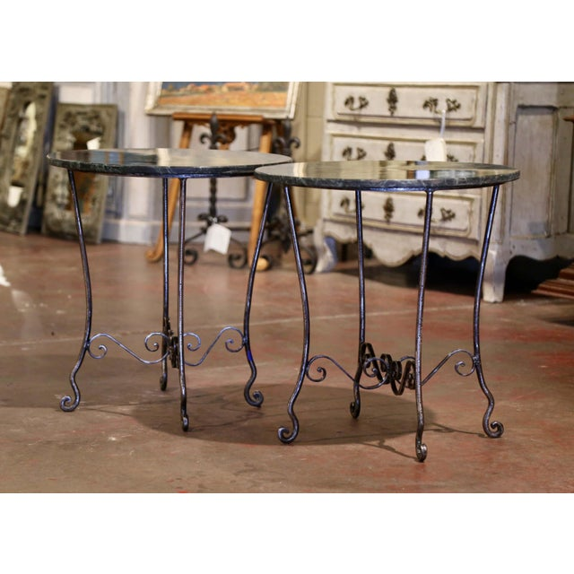 Dark Green Mid-Century French Polished Wrought Iron and Marble Patio Side Tables - a Pair For Sale - Image 8 of 9