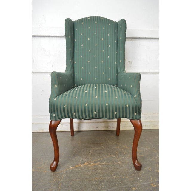 Thomasville Pair of Cherry Queen Anne Host Wing Chairs - Image 5 of 13