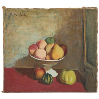 Still Life Oil Painting on Canvas of Fruit Bowl From France Circa 1900 For Sale