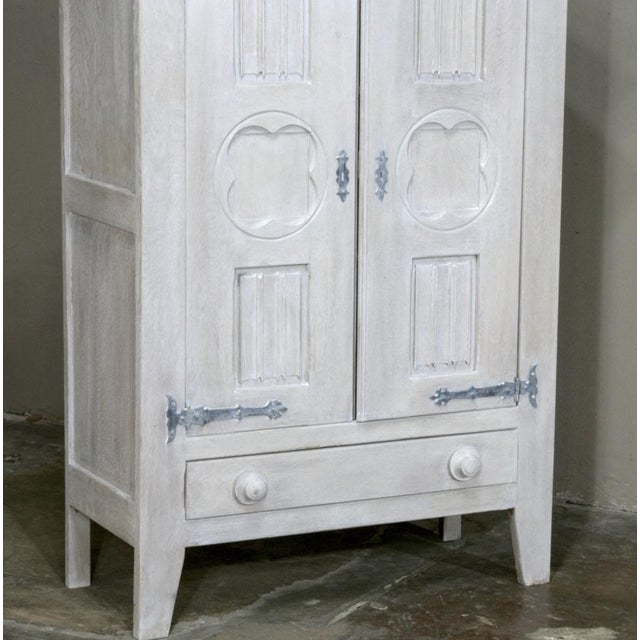 Antique Rustic Country French Painted Gothic Cabinet For Sale In Dallas - Image 6 of 10