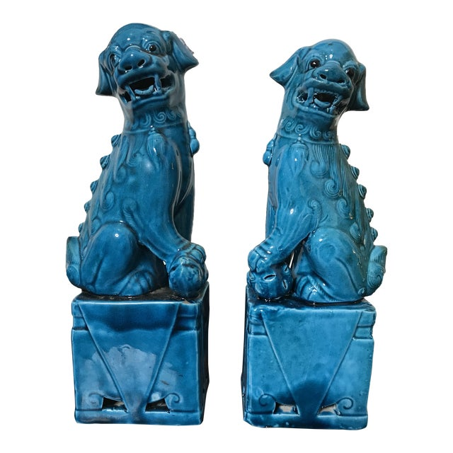 "Vintage Chinese Porcelain Turquoise Foo Dogs 10"" - a Pair For Sale"