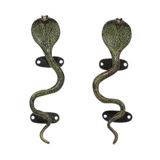 Vintage Style Cobra Door Handles - a Pair, Small For Sale