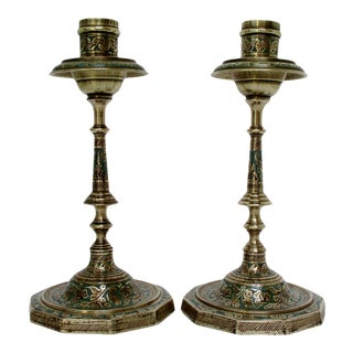 Vintage Tinted Brass Candlesticks, a Pair For Sale