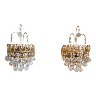 Mid-Century Italian Gilt & Crystal Sconces - A Pair For Sale