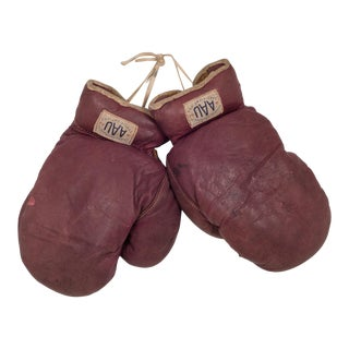 A.a.u. Leather Horse Hair Boxing Gloves C. 1930 For Sale