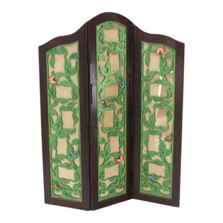 Vintage Mid Century Decorative Carved and Upholstered Screen Room Divider For Sale