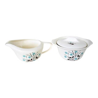 1950s Cottage, Country, Shabby Chic Blue, White Coffee & Tea Service - a Pair For Sale
