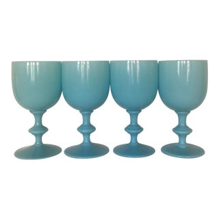 1920s Portieux Vallerysthal Blue Opaline Water Goblets - Set of 4 For Sale
