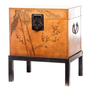 Lawrence & Scott Hand-Painted Natural Water Buffalo Leather Box on Handcrafted Brass Stand For Sale