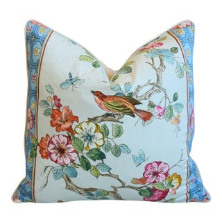 "English Chinoiserie Floral & Birds Feather/Down Pillow 24"" Square For Sale"