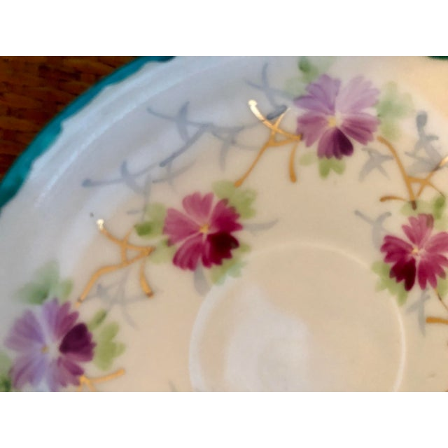 Hollywood Regency Early 20th Century Shabby Chic White Porcelain Plate With Pink and Purple Flowers For Sale - Image 3 of 6