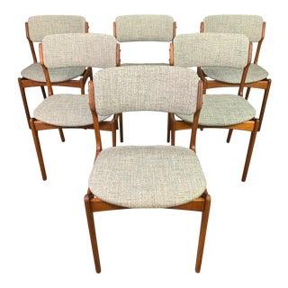 "Danish Mid Century Modern Teak Dining Chairs ""Model 49"" by Erik Buck-Set of 6 For Sale"