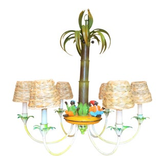 Tole Palm Tree Chandelier