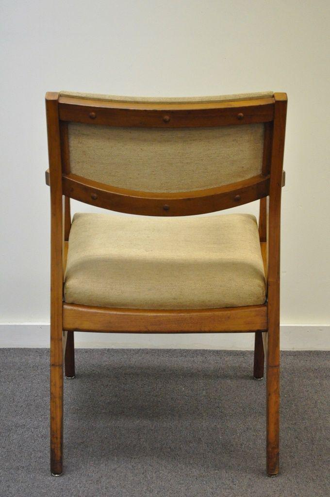 Gunlocke Vintage Mid Century Modern Walnut Office Desk Arm Chair Danish  Style Gunlocke For Sale