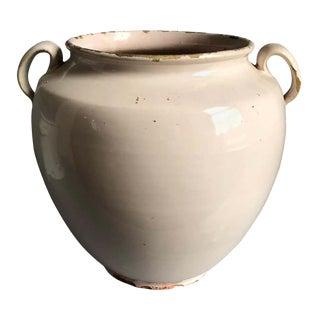French Faience Confit Pot, White Glaze For Sale