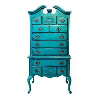 Turquoise Queen Anne Dresser