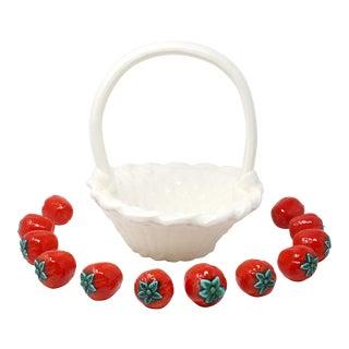 Vintage Ceramic Basket With Figural Strawberries - Set of 13 For Sale
