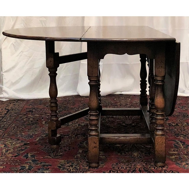Late 20th Century English Drop Leaf Yew-Wood Round Table For Sale - Image 5 of 8