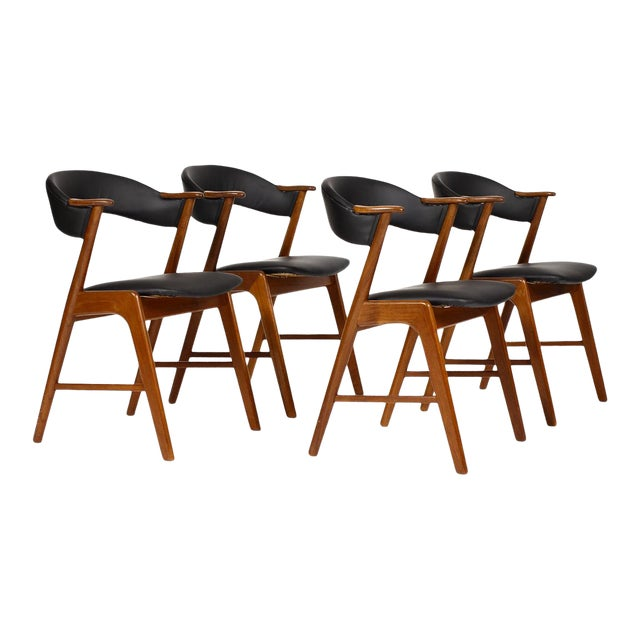 Mid Century Danish Modern Kai Kristiansen Teak Dining Chairs Set Of 4 Chairish