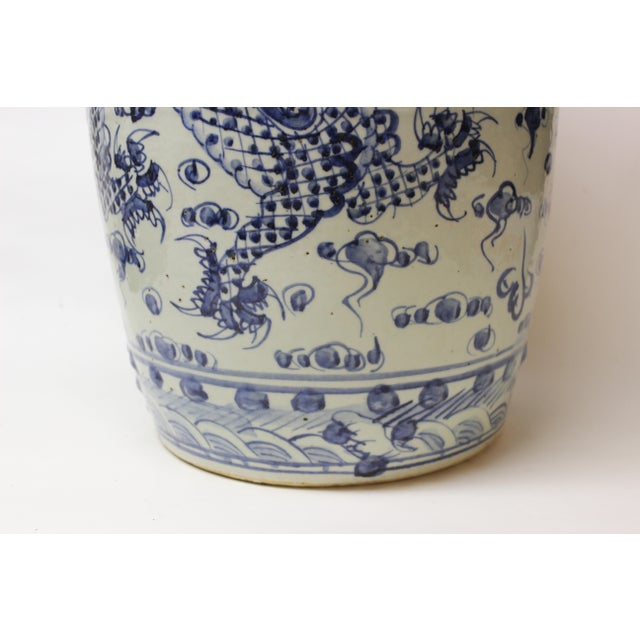 Asian Chinese Blue and White Ceramic Garden Stool For Sale - Image 3 of 10