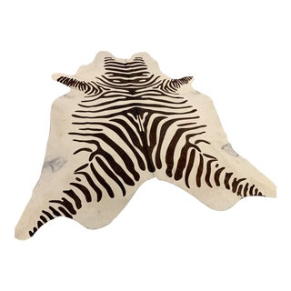 Hide Zebra Print Painted Rug For Sale