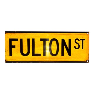 "1960s New York City Yellow Reflective Street Sign ""Fulton St"" - Financial District For Sale"