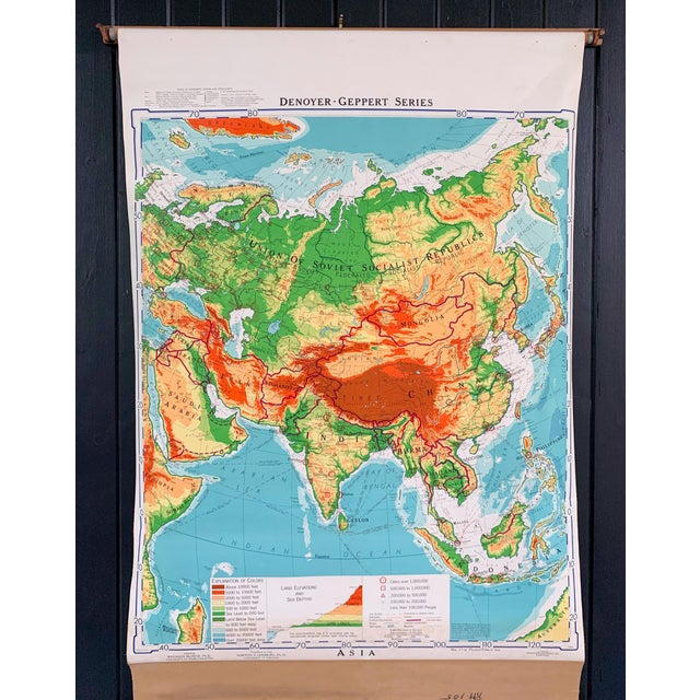 Mid 20th Century Denoyer Geppert Pull Down Map of Asia For Sale In Providence - Image 6 of 8