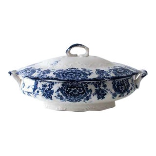 Flow Blue Cobalt Lidded Dish For Sale