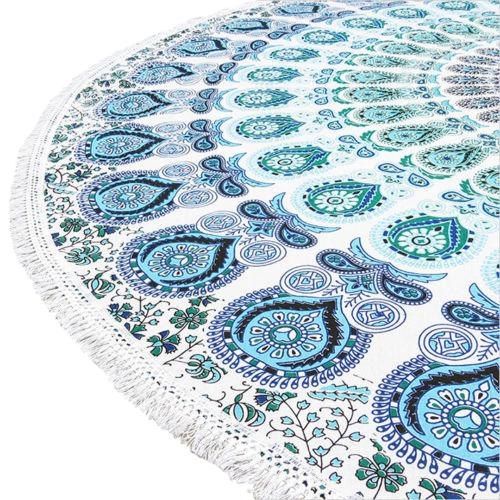 Boho Blue & White Beach Blanket - Image 4 of 4
