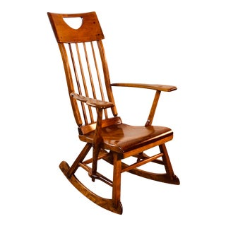 Colonial American High-Back Rocking Chair by Herman De Vries for Sikes Furniture Co For Sale