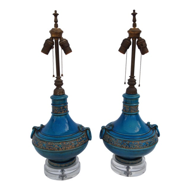 Pair of Italian Mid-Century Turquoise Glazed Lamps For Sale