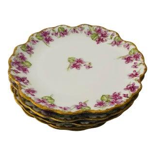 """French Limoges Violet/Gilded Salad Plates S-5, 8.25"""" For Sale"""