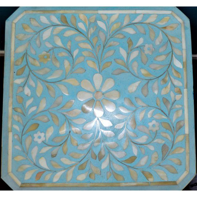 Indian Bone Inlay Side Table - Image 4 of 10