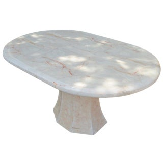 Oval Onyx Pedestal Dining Table For Sale